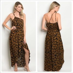 Brown and Black Maxi Dress
